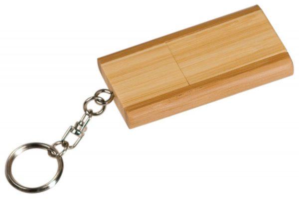 "1 3/8"" x 2 3/8"" 8GB 2-Tone Bamboo Flip Style USB Flash Drive with Keychain"