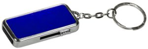 "3/4"" x 1 1/2"" x 1/4"" 8GB Blue/Silver Metal USB Flash Drive with Keychain"