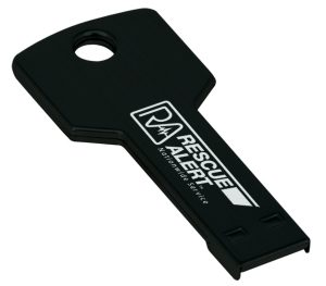 "2 1/4"" 8GB Black Laserable Key Flash Drive"
