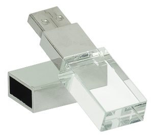 "2 1/4"" 8GB Glass with White LED Flash Drive & Black Presentation Box"