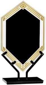 "10 1/2"" Black Infinity Double Diamond Acrylic with Iron Stand"