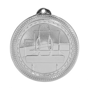 "2"" Bright Silver Gymnastics Laserable BriteLazer Medal"