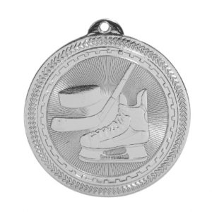 "2"" Bright Silver Hockey Laserable BriteLazer Medal"