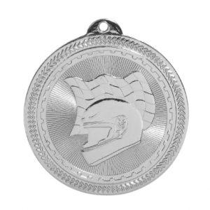 "2"" Bright Silver Racing Laserable BriteLazer Medal"