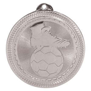 "2"" Bright Silver Soccer Laserable BriteLazer Medal"