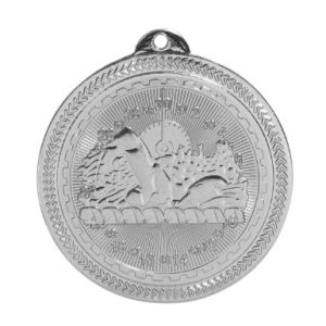 "2"" Bright Silver Swimming Laserable BriteLazer Medal"