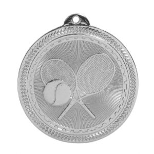 "2"" Bright Silver Tennis Laserable BriteLazer Medal"