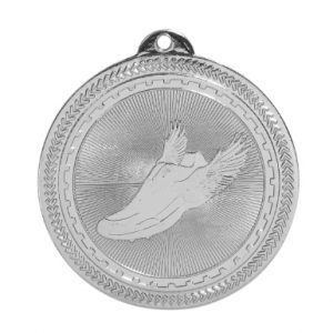 "2"" Bright Silver Track Laserable BriteLazer Medal"