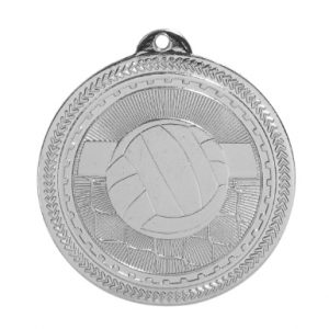 "2"" Bright Silver Volleyball Laserable BriteLazer Medal"