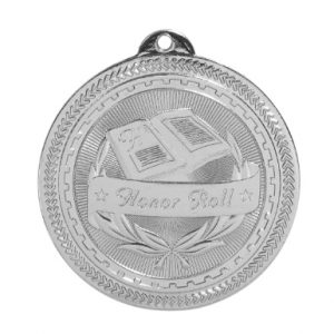 "2"" Bright Silver Honor Roll Laserable BriteLazer Medal"