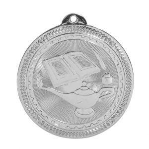 """2"""" Bright Silver Lamp of Knowledge Laserable BriteLazer Medal"""