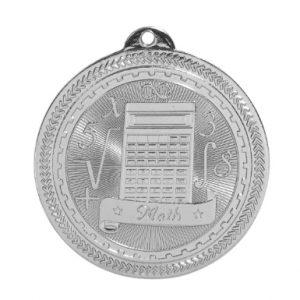 "2"" Bright Silver Math Laserable BriteLazer Medal"