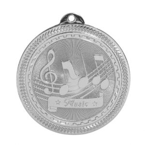 "2"" Bright Silver Music Laserable BriteLazer Medal"
