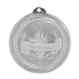 "2"" Bright Silver Participant Laserable BriteLazer Medal"
