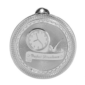"2"" Bright Silver Perfect Attendance Laserable BriteLazer Medal"