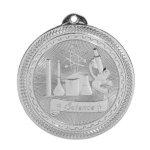 "2"" Bright Silver Science Laserable BriteLazer Medal"