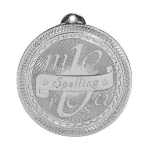 """2"""" Bright Silver Spelling Laserable BriteLazer Medal"""