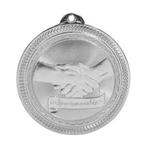 "2"" Bright Silver Sportsmanship Laserable BriteLazer Medal"