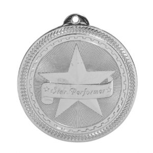 "2"" Bright Silver Star Performer Laserable BriteLazer Medal"