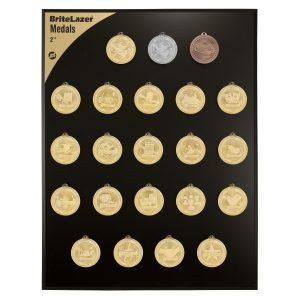 "2"" Sport Laserable BriteLazer Medal Display Set"