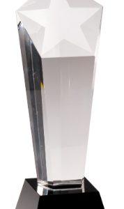 """10 1/2"""" Crystal Frosted Star Column on Black Pedestal Base"""