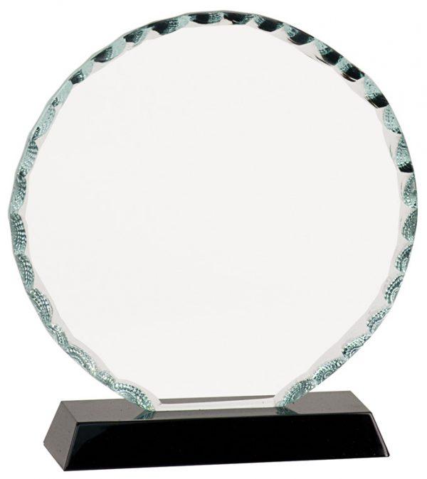 "6 1/2"" Round Facet Glass on Black Base"