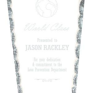 "7 3/4"" Diamond Facet Glass on Black Base"