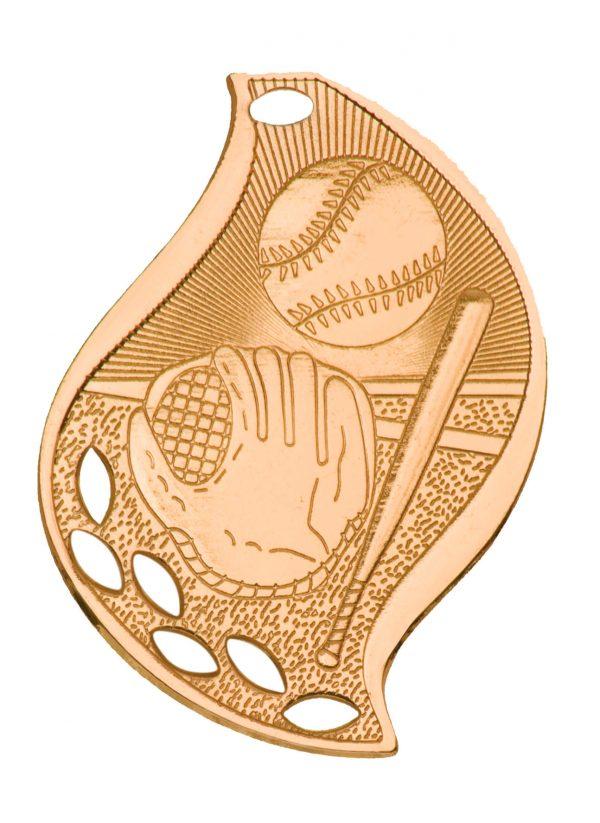 "2 1/4"" Antique Bronze Baseball/Softball Laserable Flame Medal"