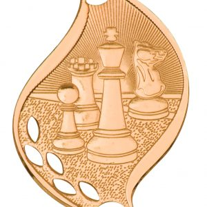 """2 1/4"""" Antique Bronze Chess Laserable Flame Medal"""