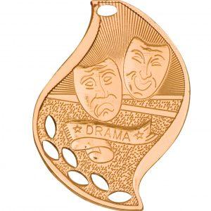 "2 1/4"" Antique Bronze Drama Laserable Flame Medal"