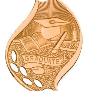"2 1/4"" Antique Bronze Graduate Laserable Flame Medal"