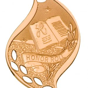 """2 1/4"""" Antique Bronze Honor Roll Laserable Flame Medal"""
