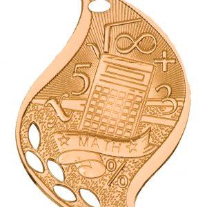 "2 1/4"" Antique Bronze Math Laserable Flame Medal"