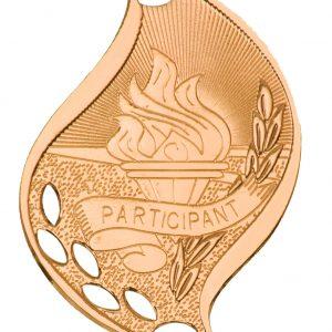"""2 1/4"""" Antique Bronze Participant Laserable Flame Medal"""