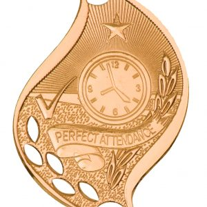 """2 1/4"""" Antique Bronze Perfect Attendance Laserable Flame Medal"""