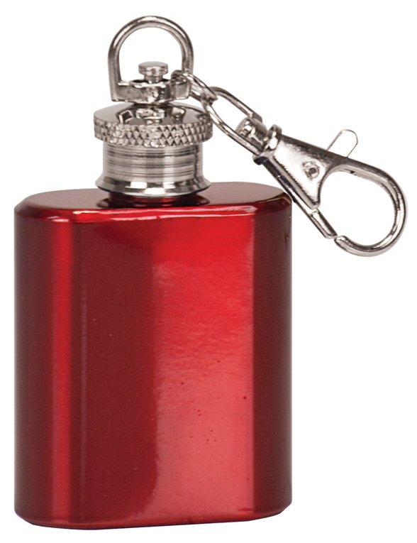 1 oz. Gloss Red Flask Keychain