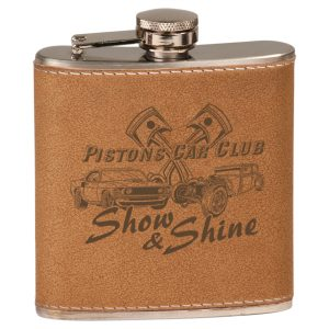 6 oz. Leather Laserable Stainless Steel Flask