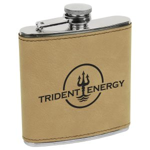 6 oz. Light Brown Laserable Leatherette Stainless Steel Flask
