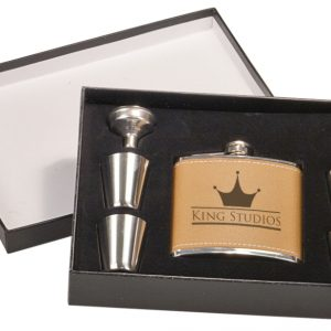 6 oz. Leather Flask Set in Black Presentation Box