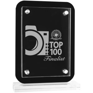 """6 1/2"""" x 8 3/4"""" Black Floating Glass Standup Plaque"""