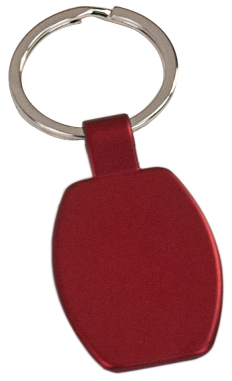 "1 5/8"" Red Laserable Rectangle Keychain"
