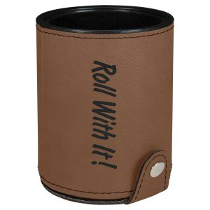 Dark Brown Laserable Leatherette Dice Cup with 5 Dice