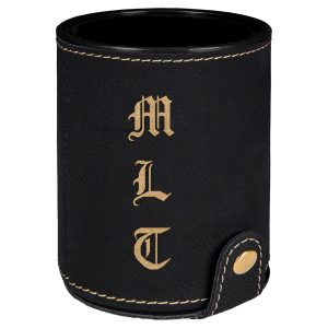 Black/Gold Laserable Leatherette Dice Cup with 5 Dice