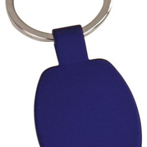 "1 5/8"" Blue Laserable Rectangle Keychain"
