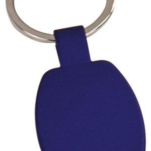 "1 5/8"" Blue Laserable Rectangle Keychain"