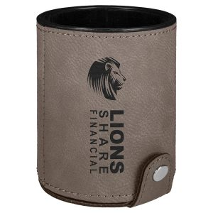Gray Laserable Leatherette Dice Cup with 5 Dice