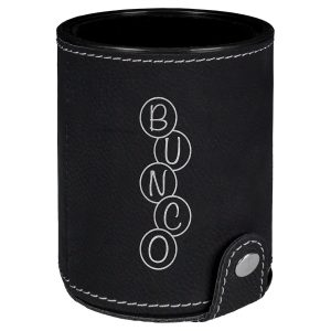 Black & Silver Laserable Leatherette Dice Cup with 5 Dice