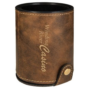 Rustic/Gold Laserable Leatherette Dice Cup with 5 Dice