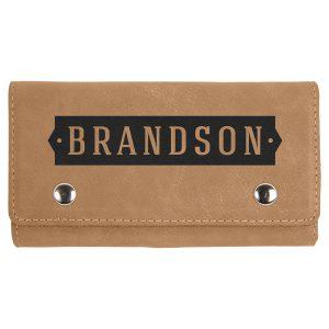 Light Brown Laserable Leatherette Card & Dice Set