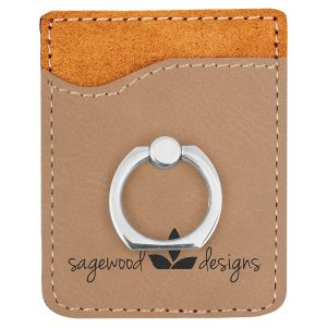 Light Brown Laserable Leatherette Phone Wallet with Silver Ring